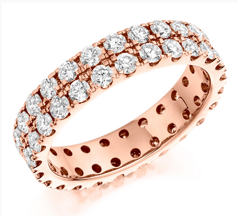 Campbell Jewellers 18ct Rose Gold Diamond Full Wedding/Eternity Ring 2.00ct