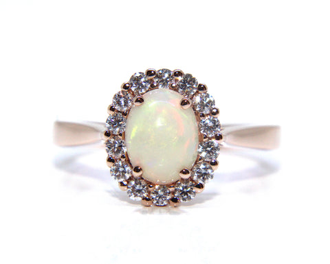 18ct Rose Gold Opal & Diamond Ring 1.22ct - Campbell Jewellers