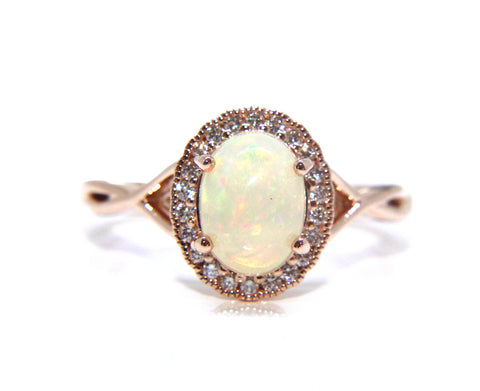 18ct Rose Gold Opal & Diamond Ring 1.03ct - Campbell Jewellers