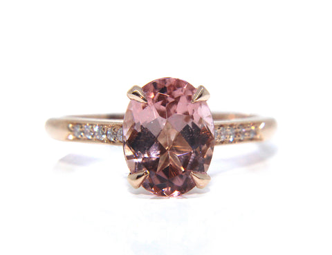 18ct Rose Gold Oval Morganite & Diamond Ring 2.21ct - Campbell Jewellers
