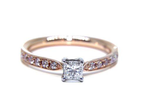 Campbell 18ct Rose Gold Princess Diamond Engagement Ring 0.46ct