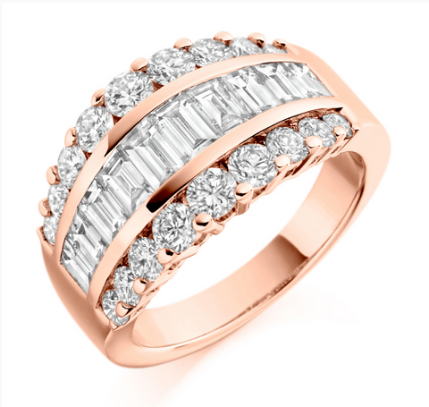 Campbell Jewellers 18ct Rose Gold Round & Baguette Diamond Eternity Ring 2.65ct