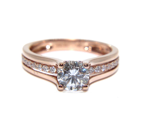 18ct Rose Gold Round Brilliant Diamond Split Shoulder Engagement Ring 1.06ct - Campbell Jewellers