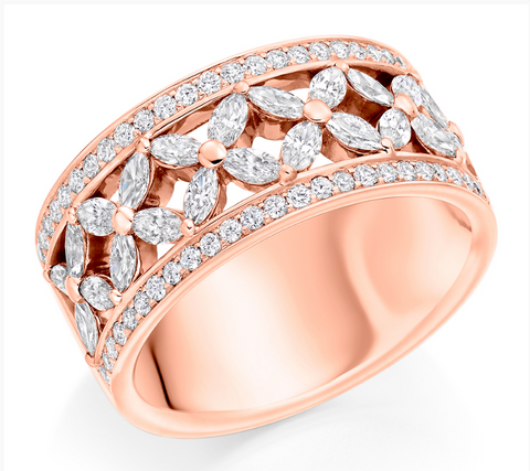 Campbell Jewellers 18ct Rose Gold Round Brilliant & Marquise Diamond Eternity Ring 1.50ct