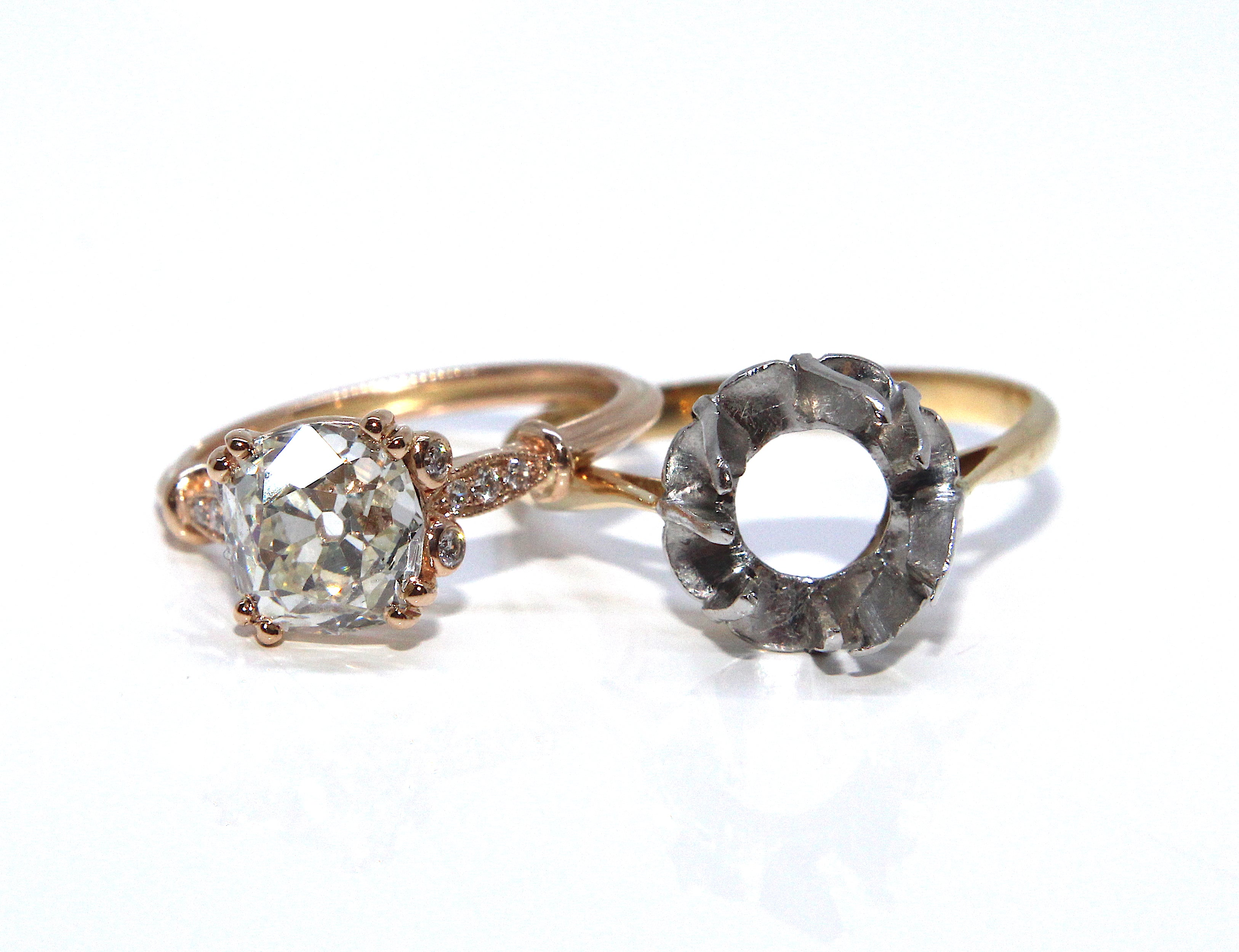 Rose Gold Old Cut Diamond Engagement Ring Redesign Campbell