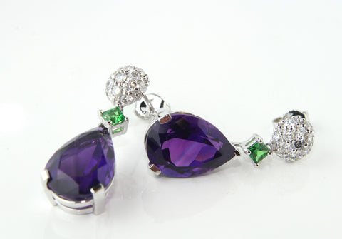 Campbell 18ct White Gold Amethyst, Tsavorite & Diamond Drop Earrings 14.62ct