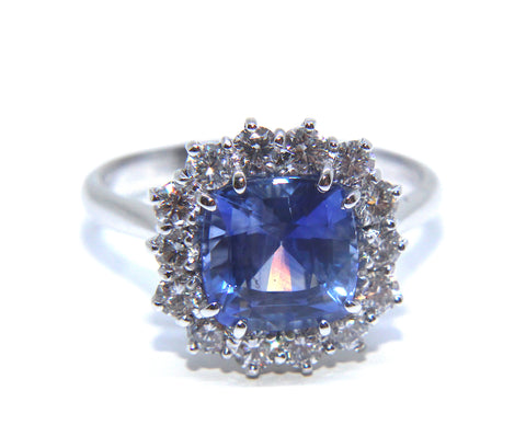 Campbell 18ct White Gold Cushion Sapphire & Diamond Ring 3.34ct