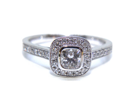 Campbell 18ct White Gold Cushion Diamond Halo Engagement Ring 0.87ct