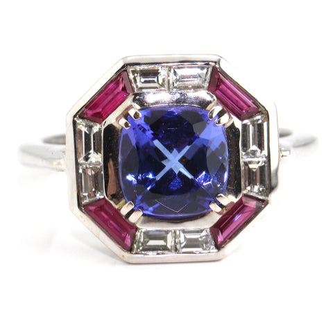Deco Tanzanite, Ruby & Diamond Ring 2.50ct Campbell Jewellers