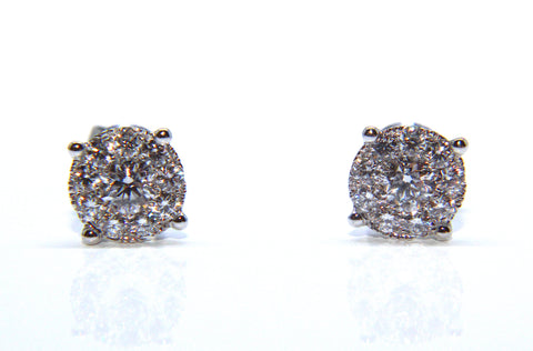 Campbell Fine 18ct White Gold Diamond Stud Earrings 0.74cts