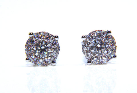Campbell Fine 18ct White Gold Diamond Stud Earrings 1.09cts