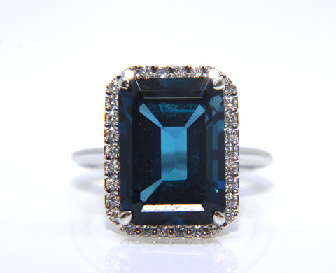 18ct White Gold London Blue Topaz Cocktail Ring 9.37ct Campbell Jewellers