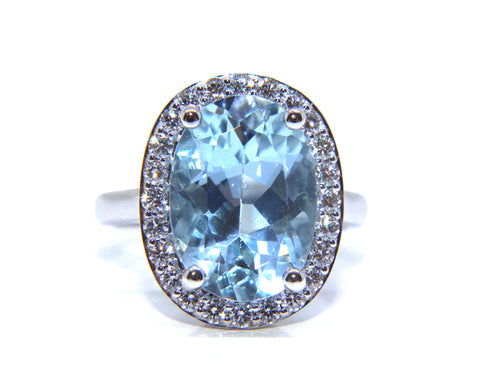 Campbell 18ct White Gold Oval Aquamarine & Diamond Ring 6.02ct