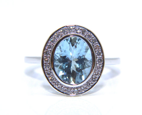 18ct White Gold Oval Aquamarine & Diamond Ring 2.37ct Campbell Jewellers