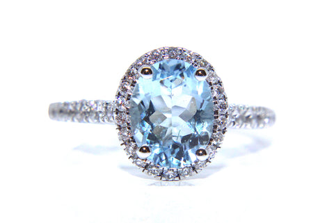 18ct White Gold Oval Aquamarine & Diamond Ring 1.97ct