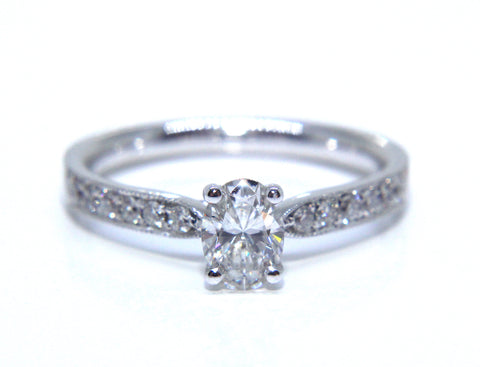 18ct White Gold Oval Diamond Engagement Ring 0.66ct - Campbell Jewellers