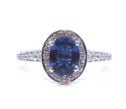18ct White Gold Oval Blue Sapphire Diamond Ring 1.90ct - Campbell Jewellers