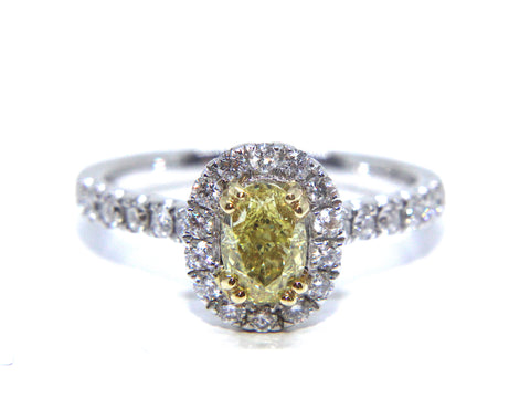 Campbell 18ct White Gold Fancy Intense Yellow Oval Diamond Halo Engagement Ring 1.16ct