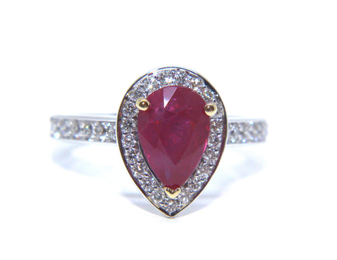 18ct White Gold Pear Shape Ruby & Diamond Ring 2.49ct - Campbell Jewellers
