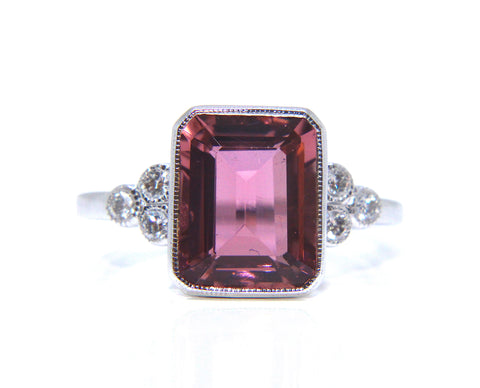 18ct White Gold Pink Tourmaline Diamond Ring 3.98ct - Campbell Jewellers