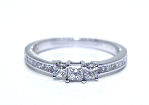 18ct White Gold Princess Diamond Trilogy Engagement Ring 0.56ct - Campbell Jewellers