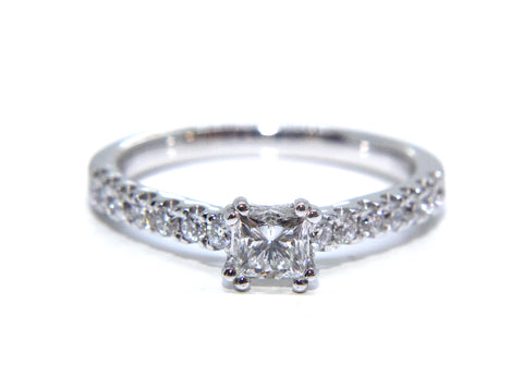 Campbell 18ct White Gold Princess Diamond Engagement Ring 0.66ct