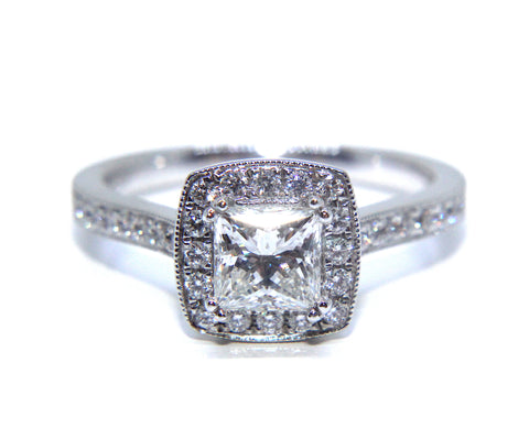 Campbell 18ct White Gold Princess Halo Diamond Engagement Ring 1.03ct