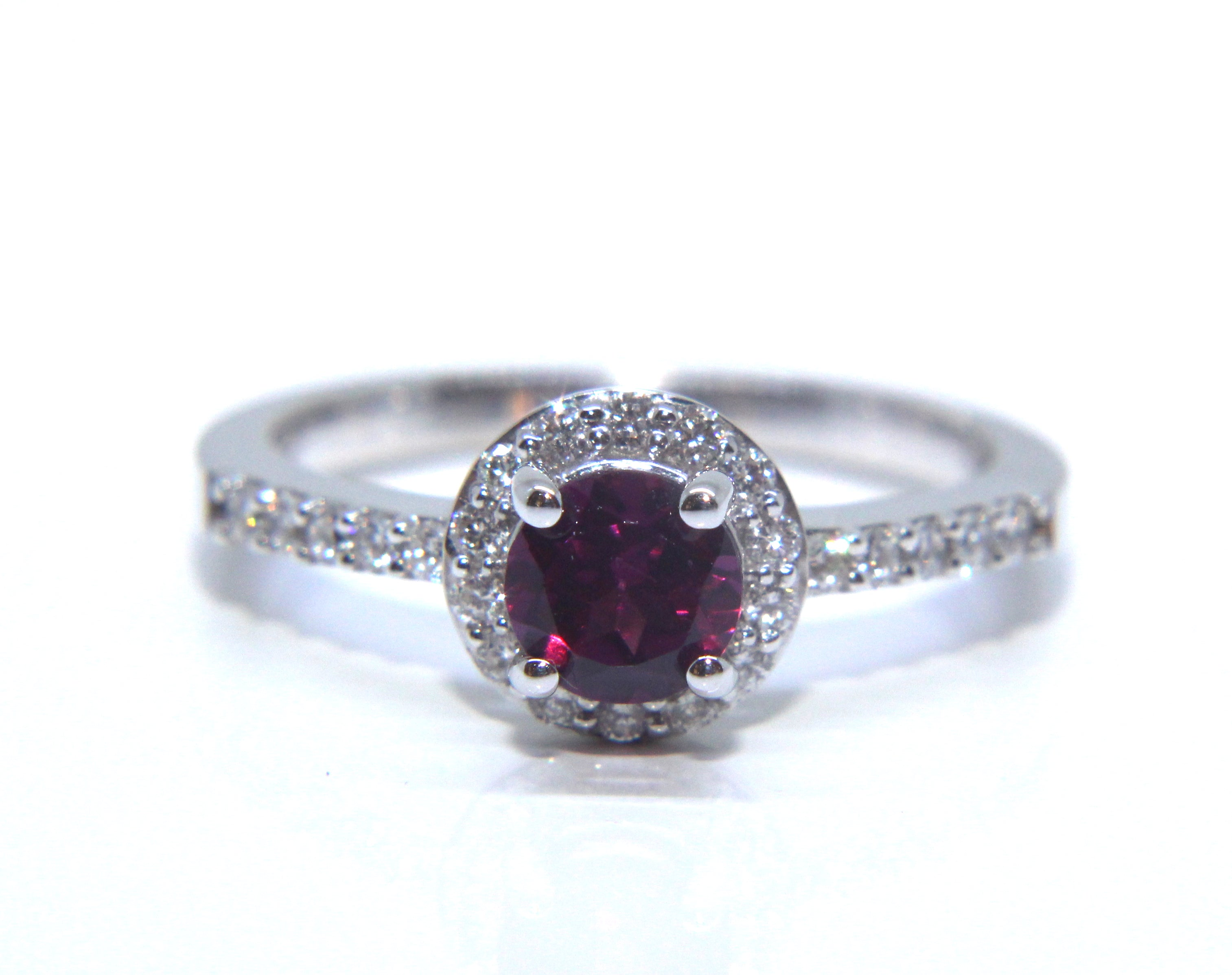 diamond emerald engagement garnet rings rhodolite cut details ori ring