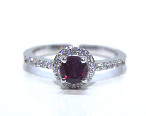 Campbell 18ct White Gold Rhodolite Garnet Diamond Halo Engagement Ring 0.75ct