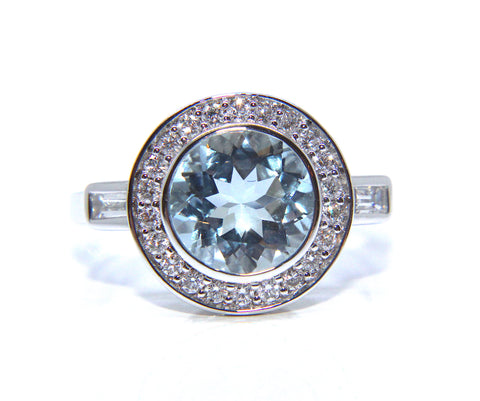 Campbell 18ct White Gold Art Deco Round Aquamarine & Diamond Ring 1.99ct