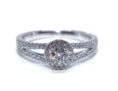 Campbell 18ct White Gold Round Halo Split Shoulder Halo Diamond Engagement Ring 0.65ct