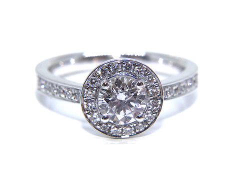 Campbell 18ct White Gold Round Diamond Halo Engagement Ring 1.00ct