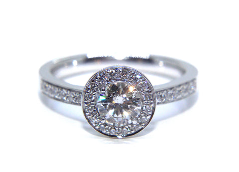 Campbell 18ct White Gold Round Diamond Halo Engagement Ring 0.72ct
