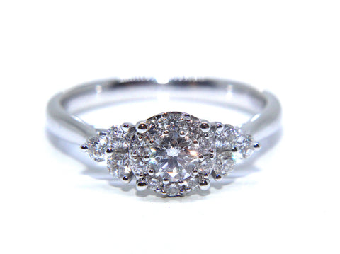 18ct White Gold Round Halo Diamond Engagement Ring 0.55ct Campbell Jewellers