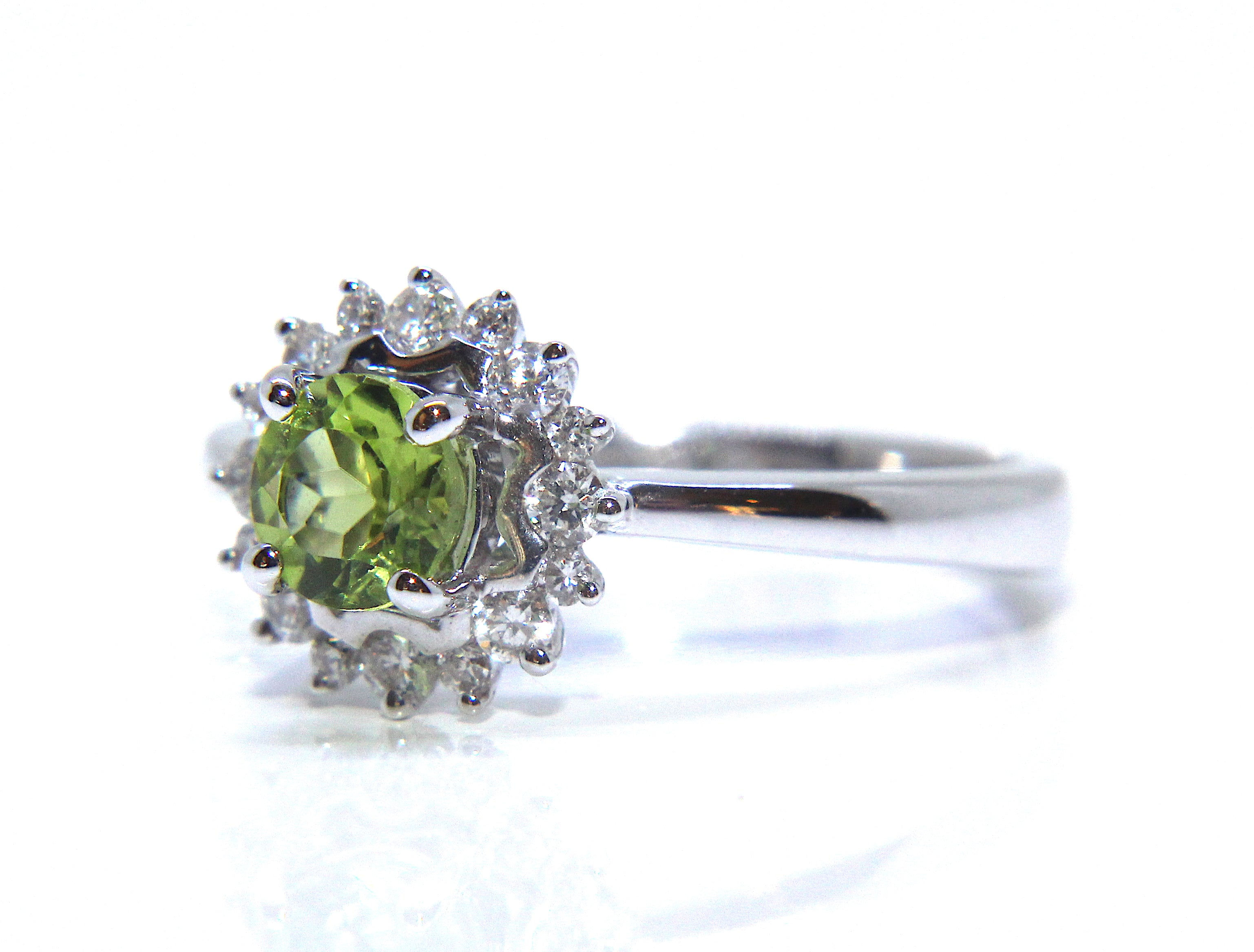 black gold carat rings engagement vintage peridot green wedding halo pave unique style ring certified