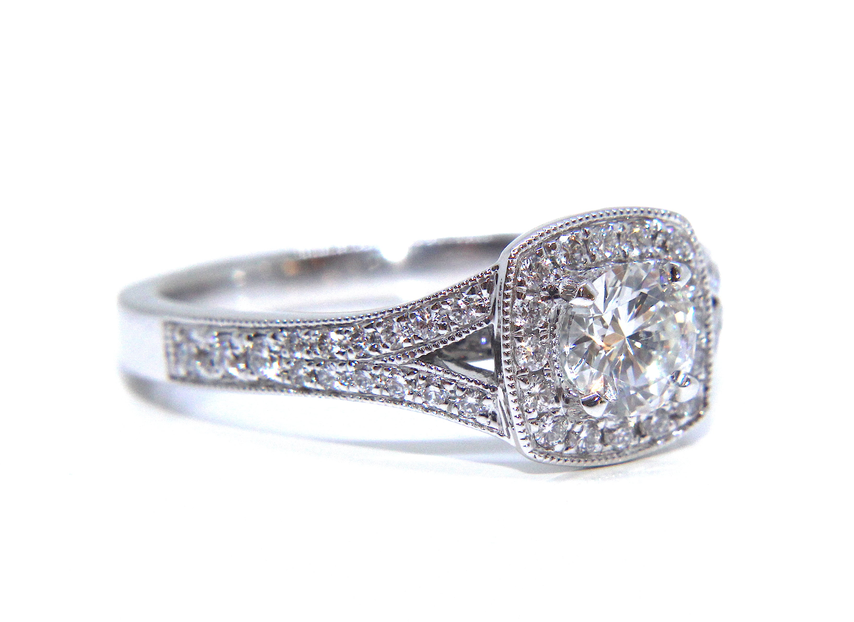 d933f624b Campbell 18ct White Gold Round Diamond Split Shoulder Halo Engagement Ring  0.82ct