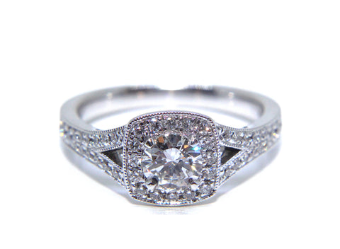 Campbell 18ct White Gold Round Diamond Split Shoulder Halo Engagement Ring 0.82ct