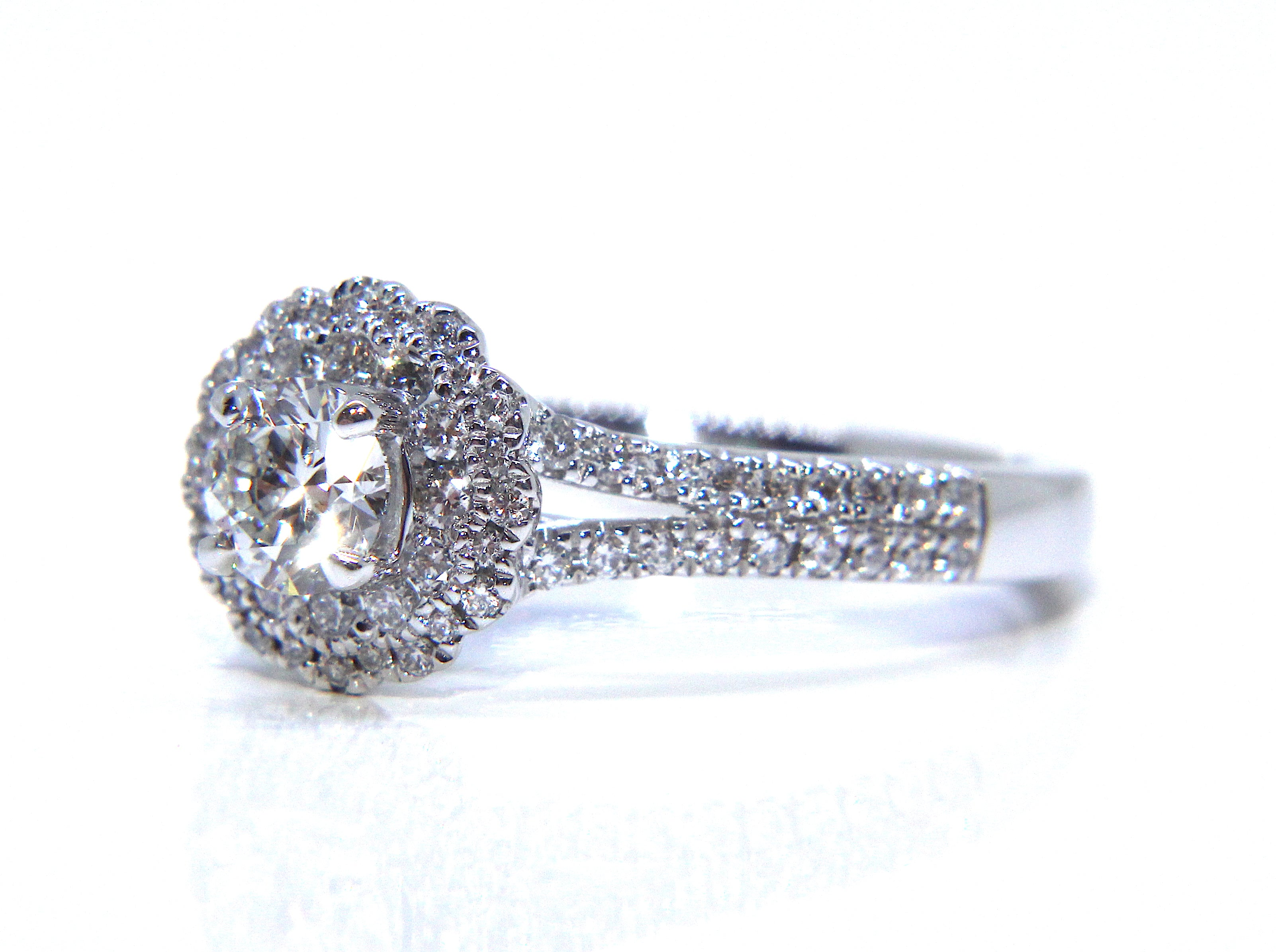 setting double shank r ring halo g rings split mg engagement cushion