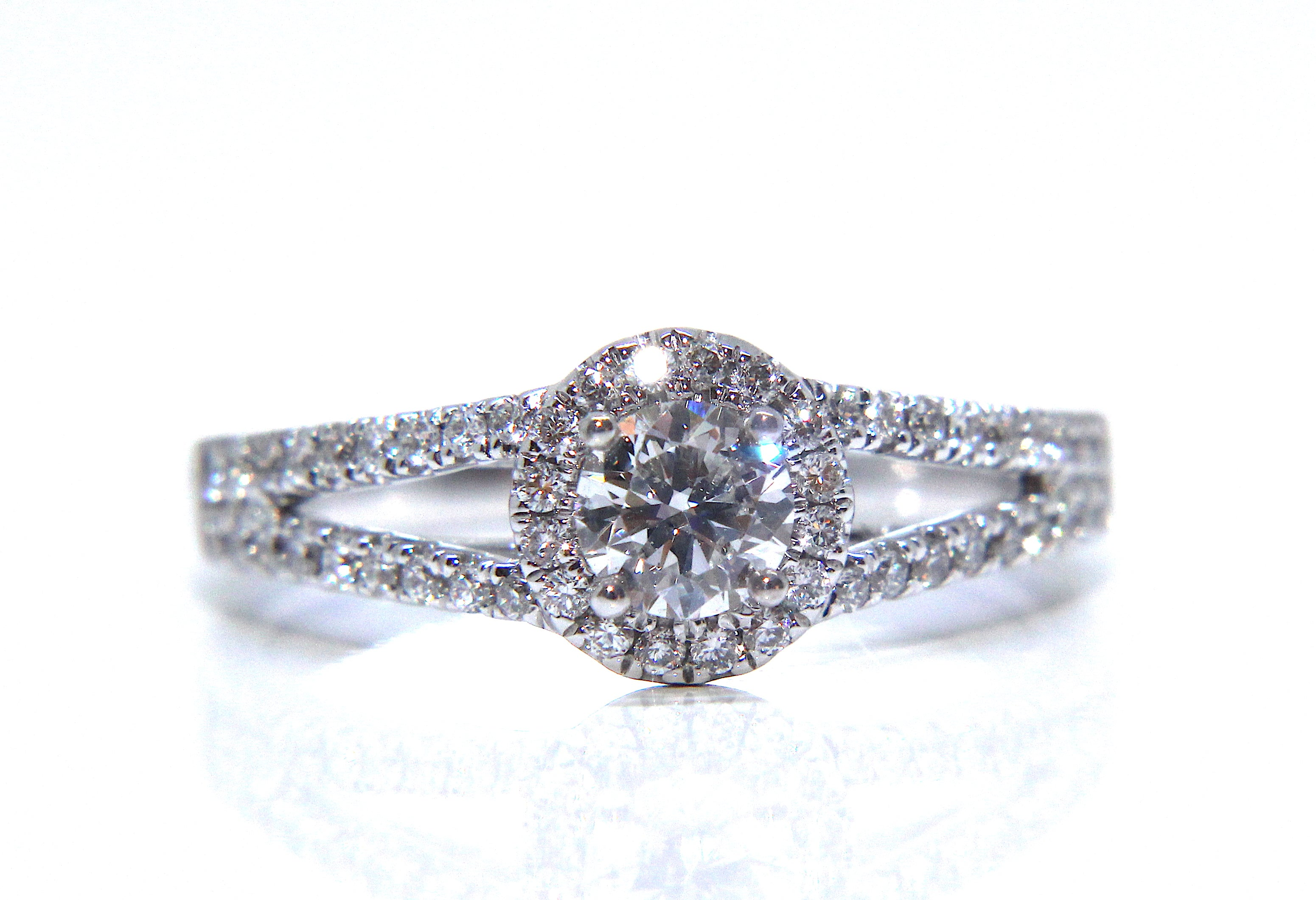 f6bf6464b Campbell 18ct White Gold Round Diamond Halo Split Shoulder Engagement Ring  0.67ct