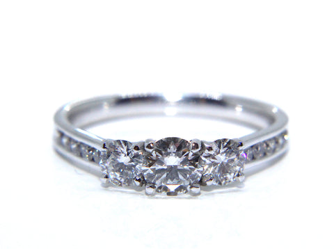 18ct White Gold Round Diamond Trilogy Engagement Ring 0.89ct - Campbell Jewellers
