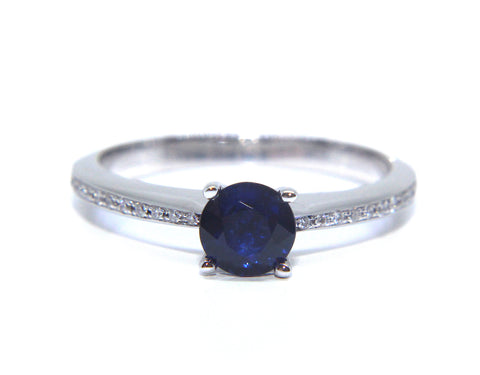 Campbell 18ct White Gold Round Sapphire Diamond Engagement Ring 0.97ct