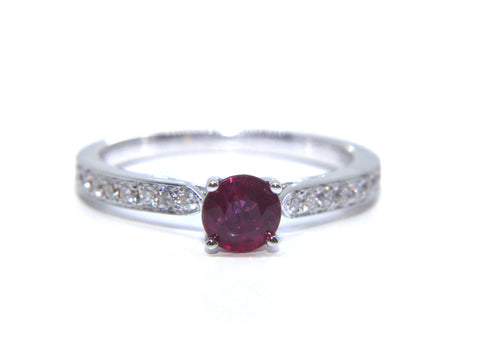 Campbell 18ct White Gold Round Ruby Diamond Engagement Ring 0.90ct