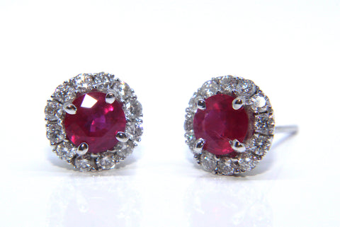 Campbell Fine 18ct White Gold Ruby & Diamond Stud Earrings 2.39cts