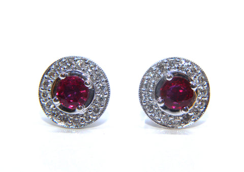 Campbell Fine 18ct White Gold Vintage Inspired Ruby & Diamond Stud Earrings 0.93cts