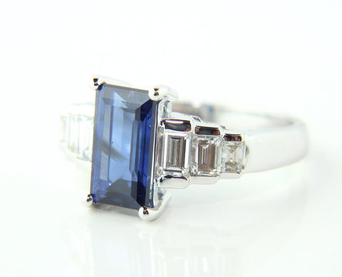 Campbell Sapphire & Baguette Diamond Ring 3.43ct
