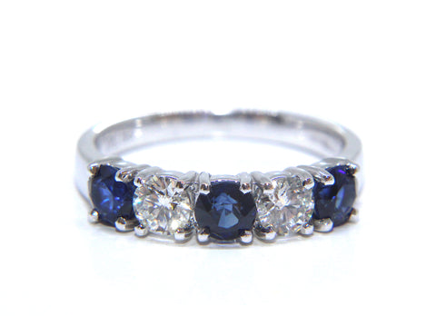 Campbell 18ct White Gold Round Brilliant Sapphire & Diamond Ring 1.60ct
