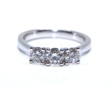 18ct White Gold Round Brilliant Diamond Trilogy Engagement Ring 1.00ct - Campbell Jewellers