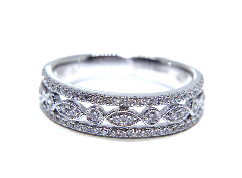 Campbell 18ct White Gold Vintage Inspired Diamond Eternity Ring 0.41ct