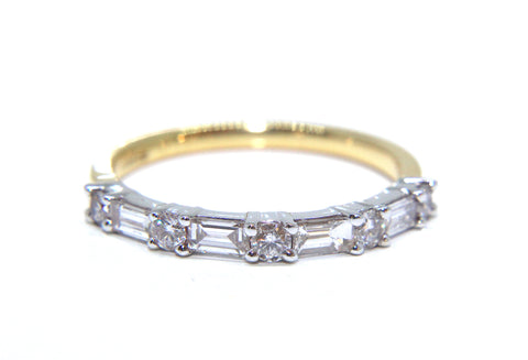 18ct Gold Baguette & Round Brilliant Diamond Eternity Ring 0.60ct Campbell Jewellers