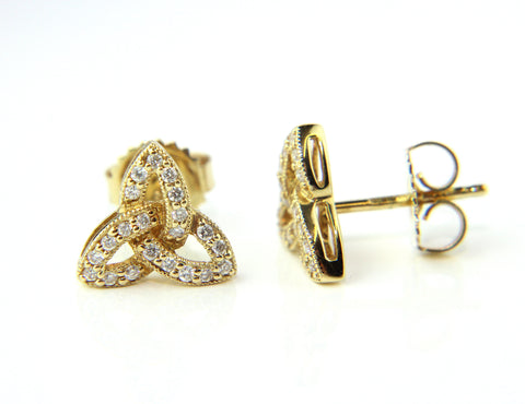 18ct Yellow Gold Diamond Set Trinity Knot Earrings